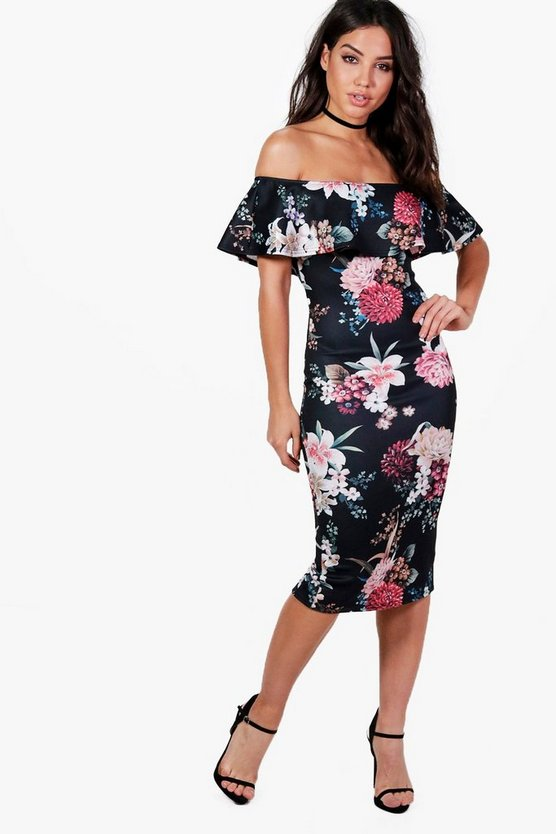 Olivia Frill Layer Floral Midi Dress