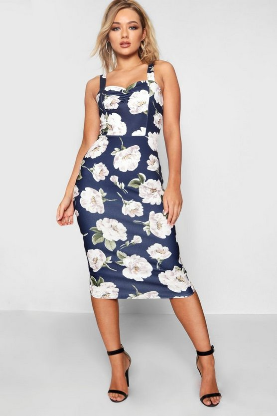Sweetheart Neckline Floral Midi Dress