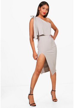 Womens Grey Bow Shoulder Detail Midi Dress