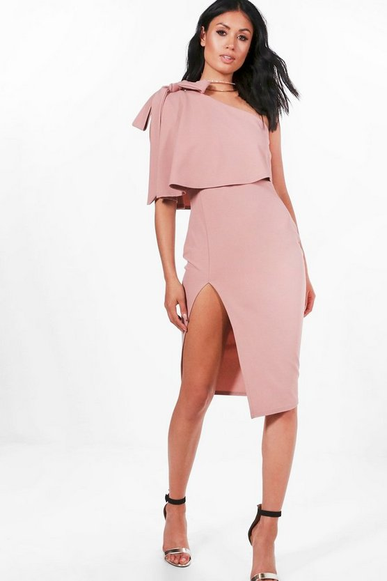 Womens Rose Bow Shoulder Detail Midi Dress