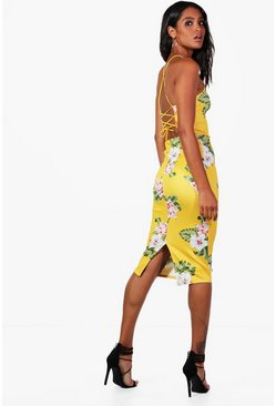 Womens Yellow Kelly Floral Cross Strappy Back Midi Dress