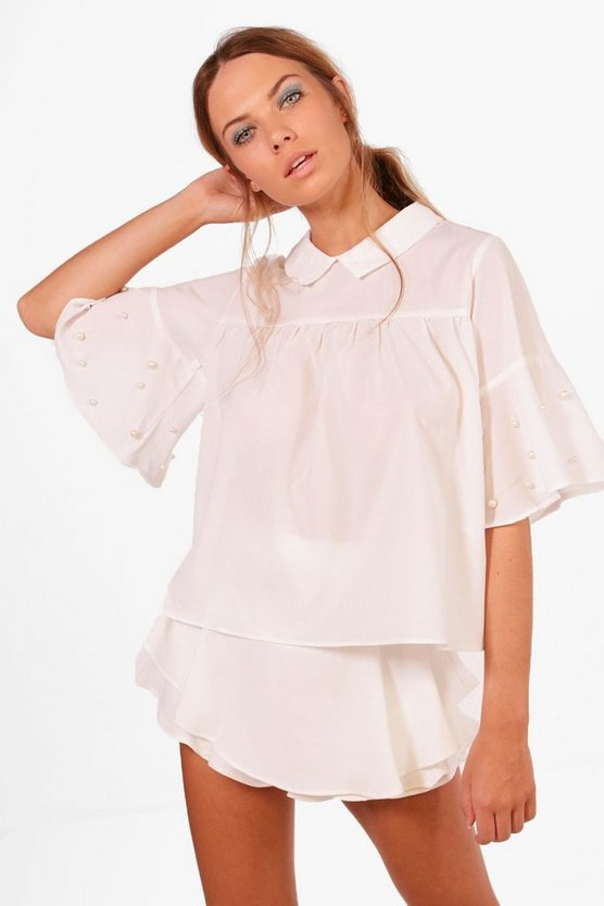 Womens Ivory Aria Pearl Embellished Swing Top
