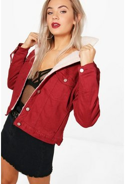 Womens Burgundy Padded Borg Collar Slim Fit Denim Jacket