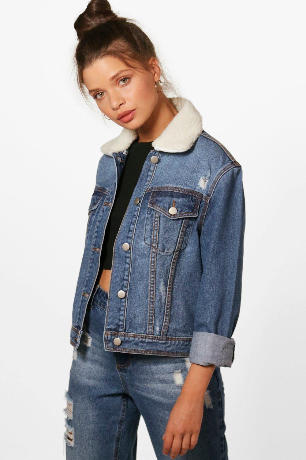 Collar Boohoo Slim Borg Fit Denim Jacket 4X4qEwKUBx