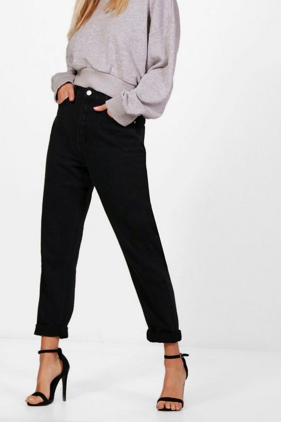 Womens Black High Rise Mom Jeans