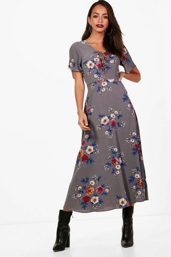 Folk Floral Lace Up Midi Dress