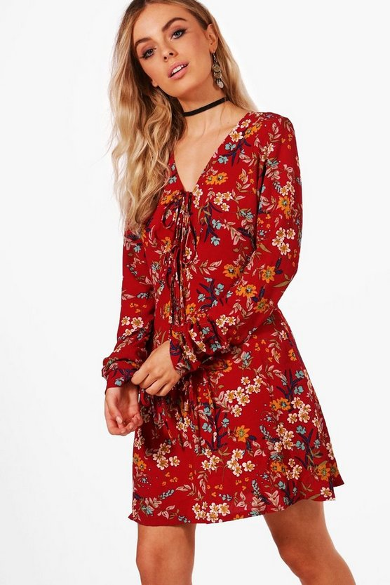 Folk Floral Cross Strap Skater Dress