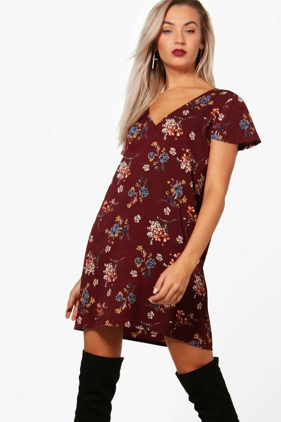 V Neck Floral Shift Dress