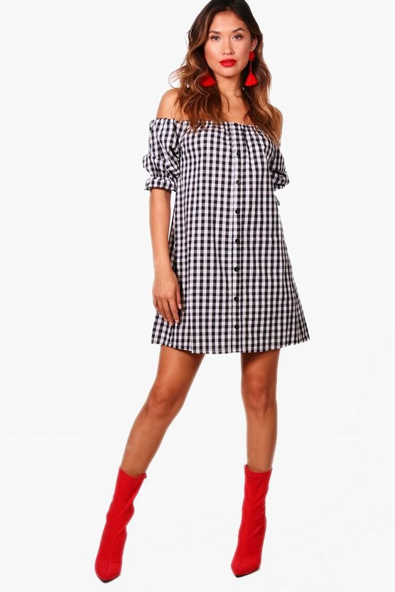 Juliette Gingham Off Shoulder Shift Dress