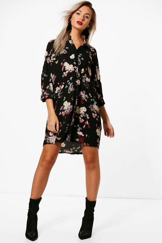 Womens Black Floral Shirt Dress