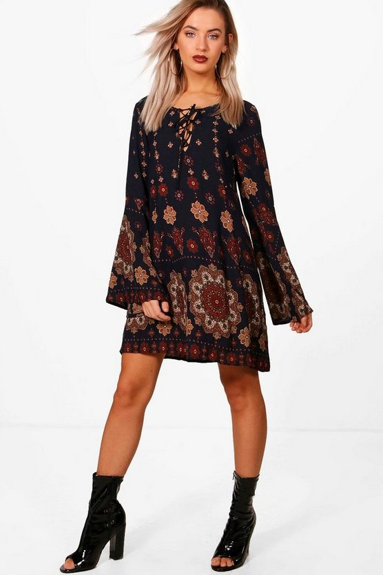 Folk Paisley Lace Up Shift Dress