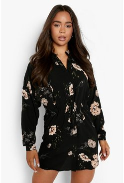 Black Floral Shirt Dress