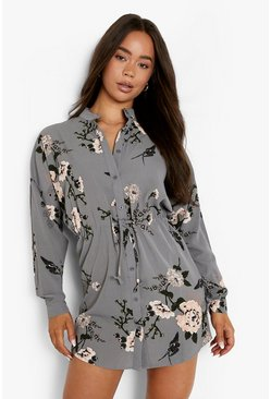Womens Grey Floral Shirt Dress