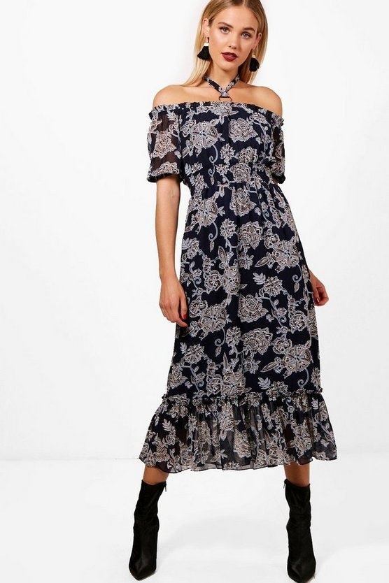Off Shoulder Halterneck Paisley Midi Dress