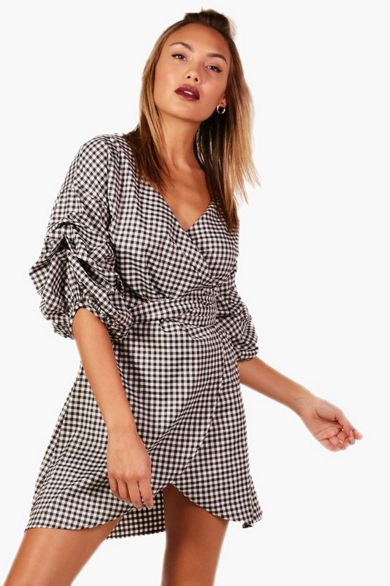 Gingham Volumised Ruched Shirt Wrap Dress