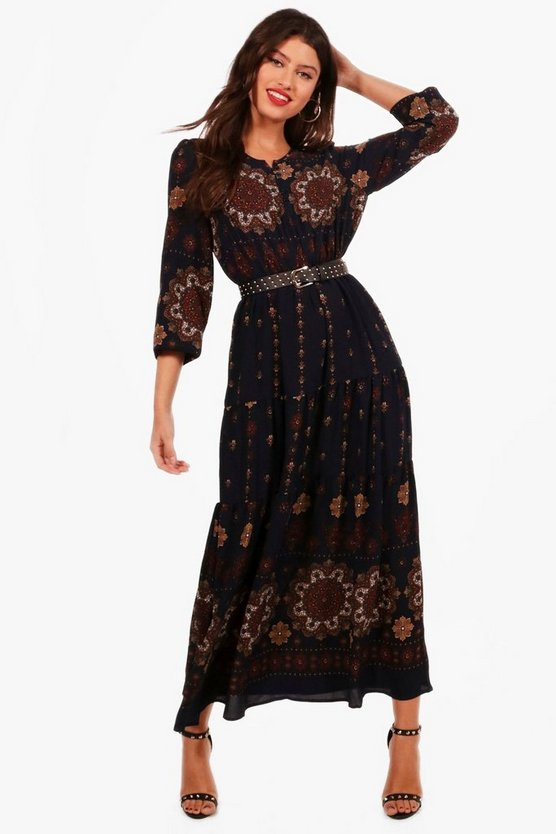 Melissa Border Print Paisley Folk Midaxi Dress
