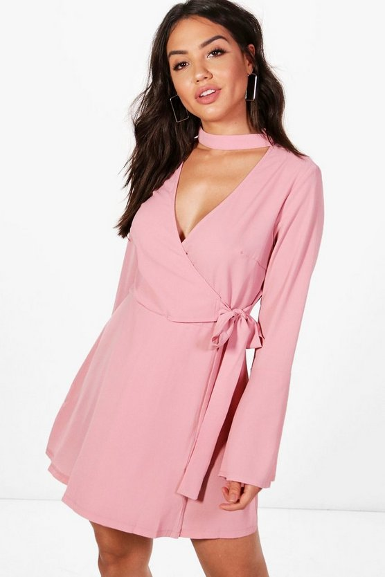 Choker Neck Wrap Skater Dress