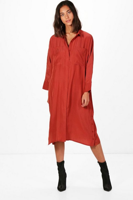 Quinn Cupro Button Side Detail Midi Dress