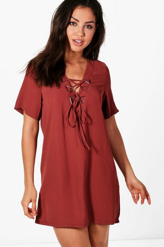 Triangle Metal Detail Lace Up Shift Dress