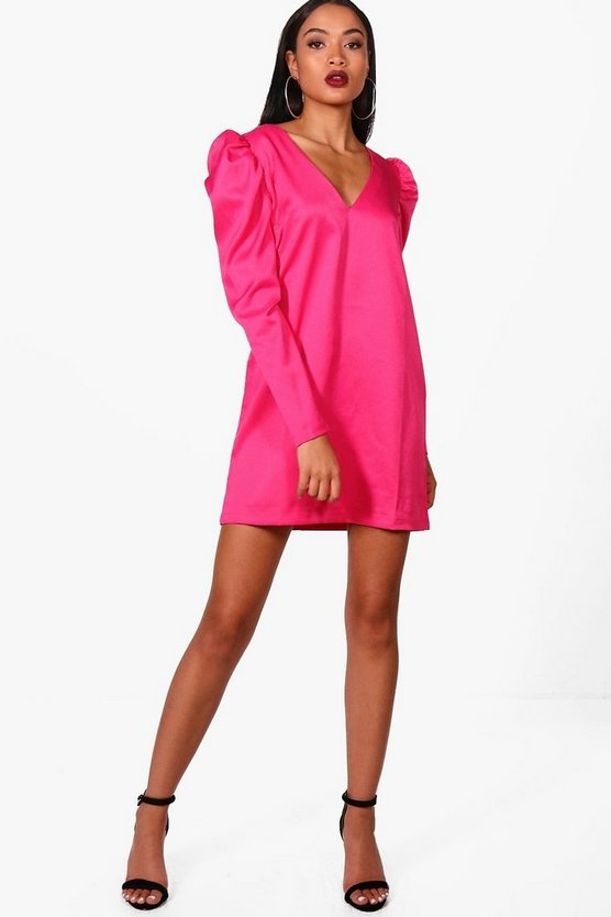 Plunge Puff Sleeve Shift Dress