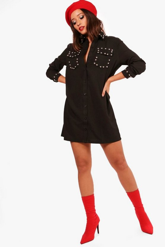Effy Studded Shirt Dress