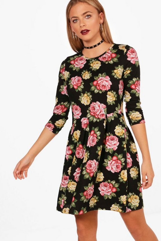 Brushed Knit Floral Shift Dress
