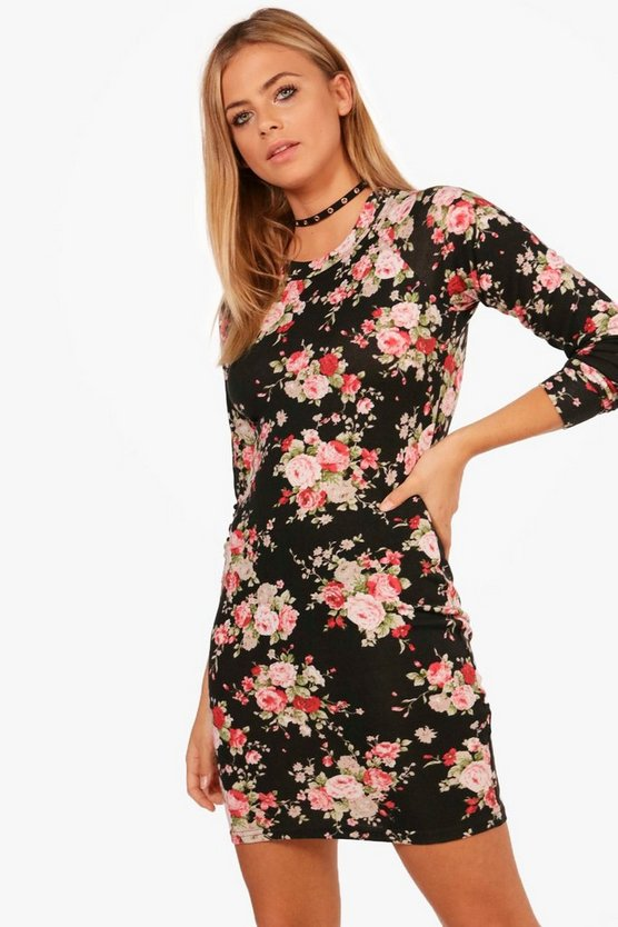 Floral Printed Brushed Knit Shift Dress