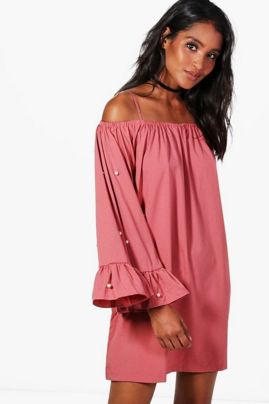Cold Shoulder Pearl Shift Dress