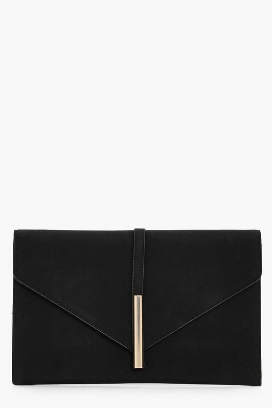 Black Metal Rod Envelope Clutch