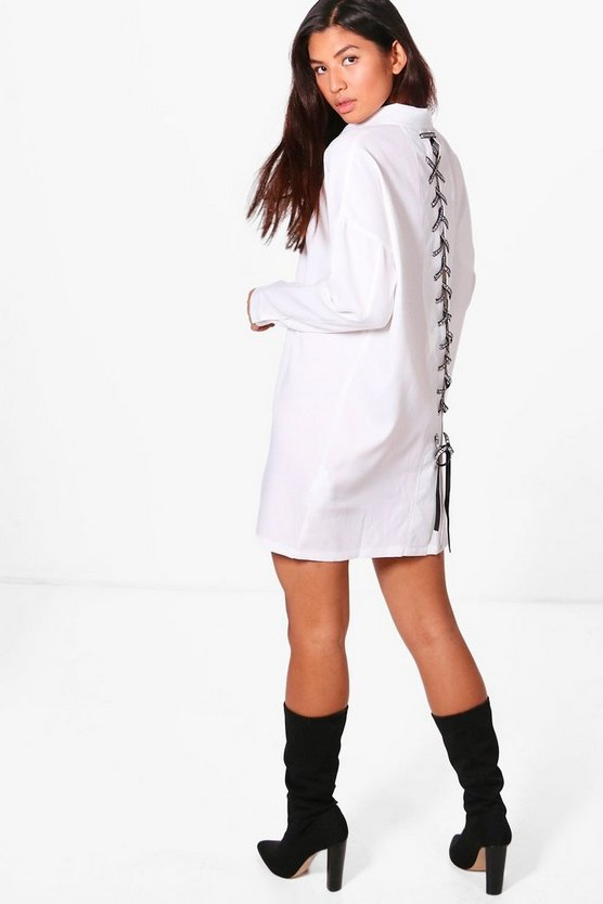 Slogan Lace Up Eyelet Shirt Dress