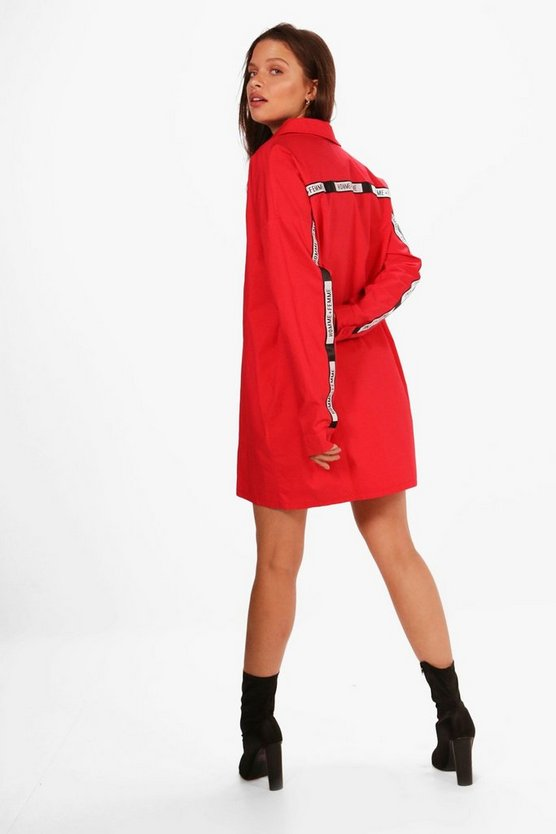 Slogan Tape Trim Shirt Dress