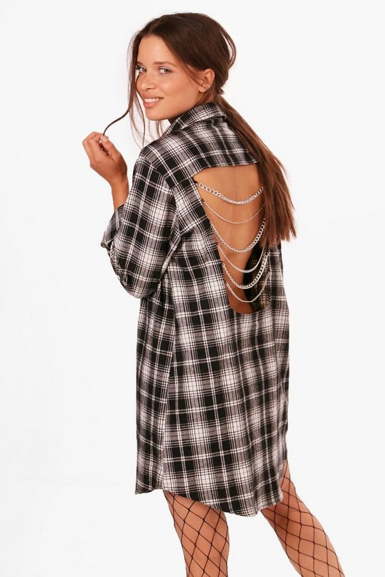 Checked Chain Back Shirt Dress