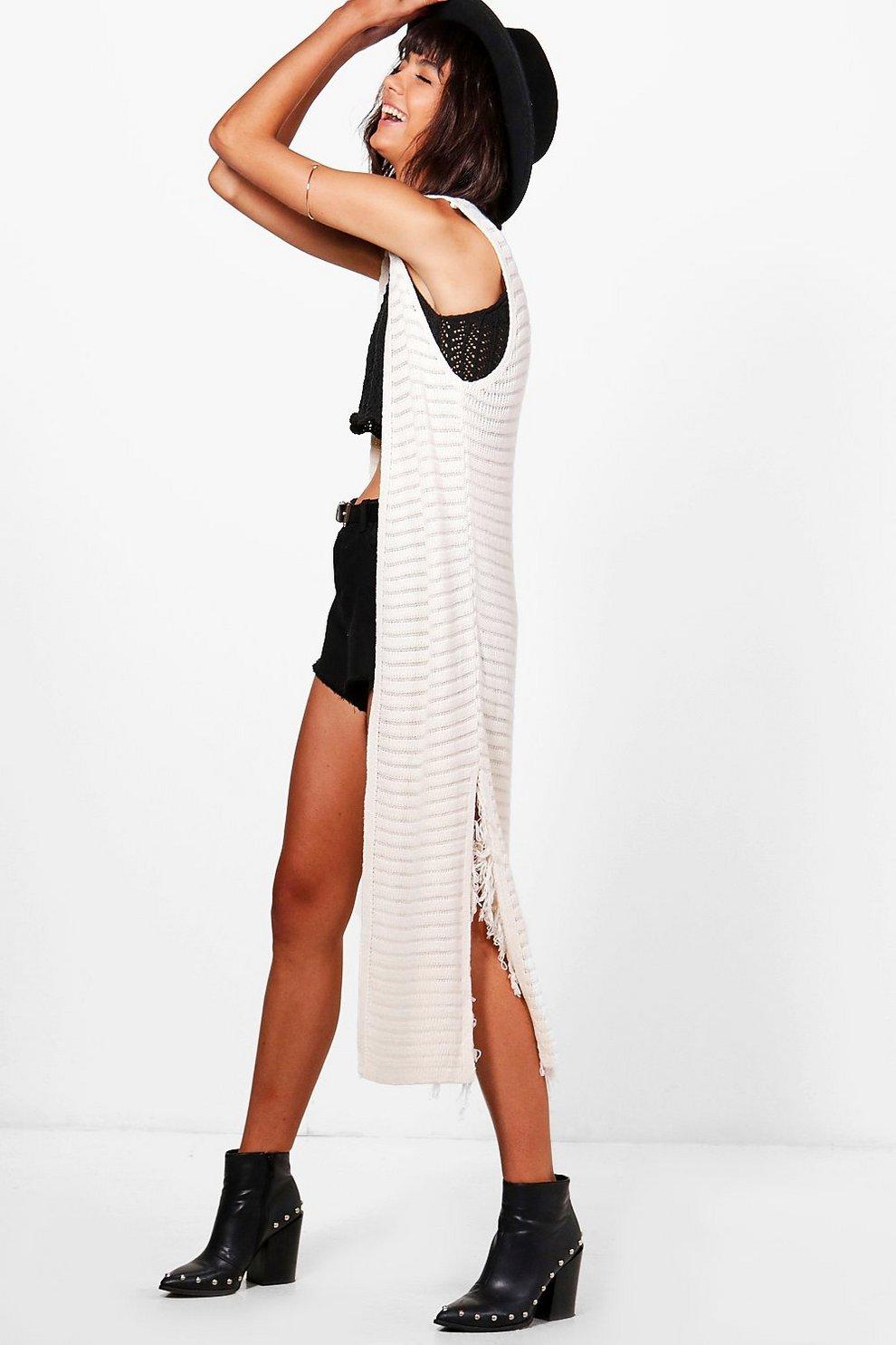 Isabella Sleeveless Tassel Side Split Crochet Cardigan Boohoo