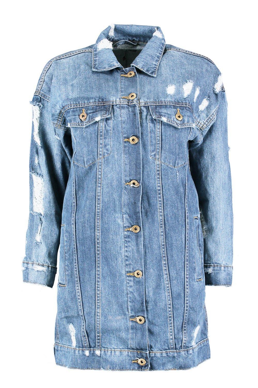 Longline Distressed Denim Jacket blue mid r4SCrqw