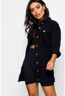 Womens Black Longline Distressed Denim Jacket