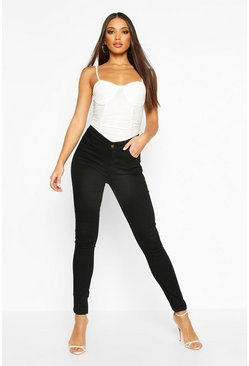 High Rise 5 Pocket Skinny Jeans, Black, Donna