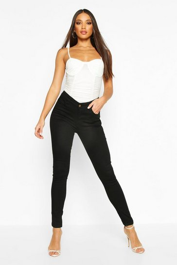Black High Rise 5 Pocket Skinny Jeans