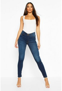 High Rise 5 Pocket Skinny Jeans, Indigo, Donna