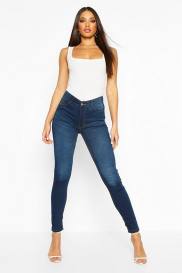 Womens Indigo High Rise 5 Pocket Skinny Jeans