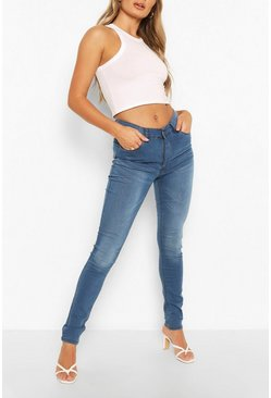 Womens Mid blue High Rise 5 Pocket Skinny Jeans