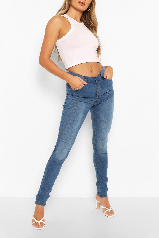 Jeans 5 Pocket Skinny blue mid High Rise q160wxO