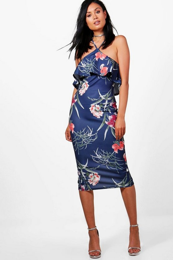 Quinn Frill Top Navy Floral Midi Dress