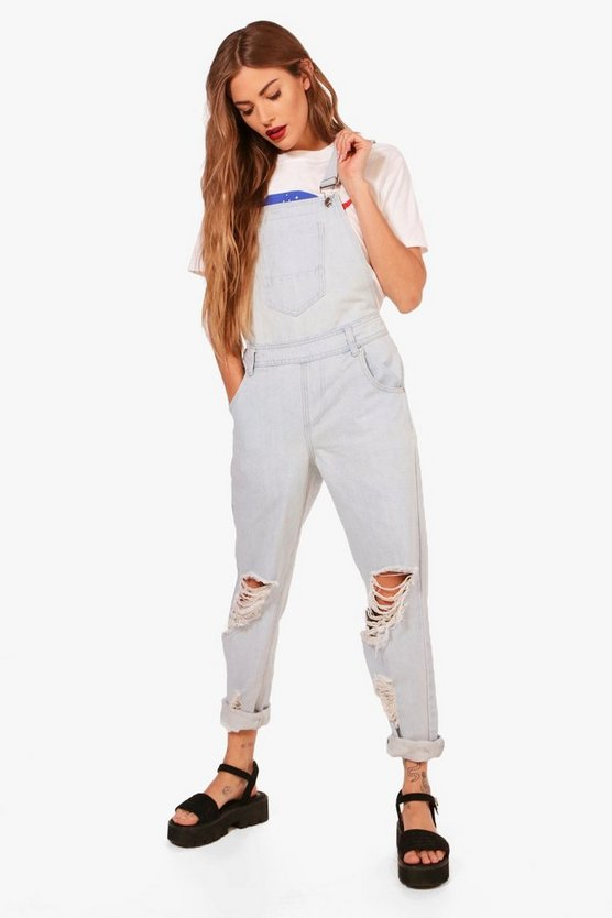Amy Bleach Wash Denim Dungarees
