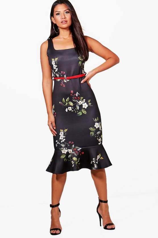 Lucy Floral Belted Frill Hem Midi Dress