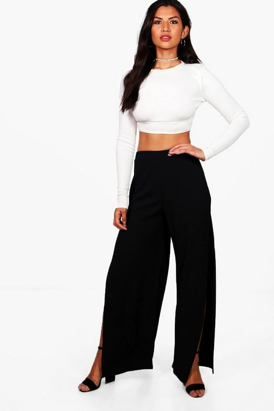 Thigh Split Crepe Wide Leg Trousers