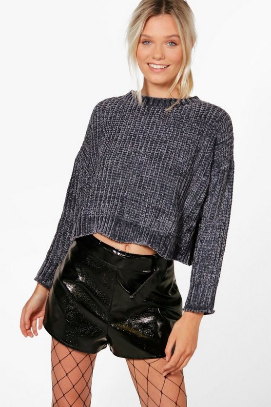 Womens Charcoal Alex Wavy Hem Cropped Chenille Jumper