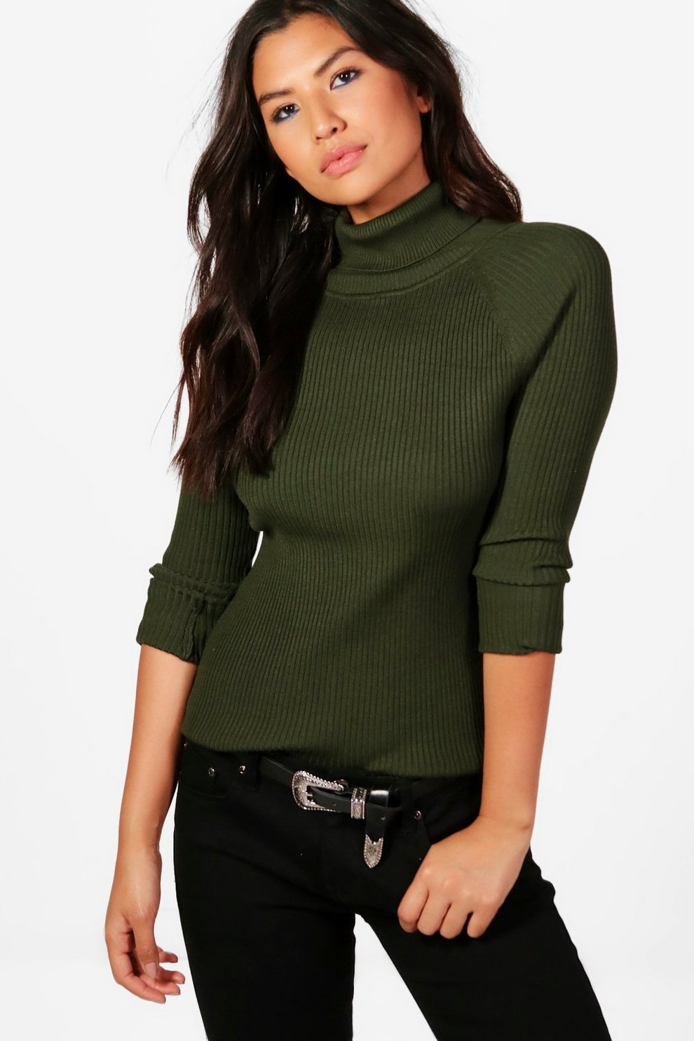 30ccb9363864a Phoebe Rib Knit Roll Neck Jumper | Boohoo
