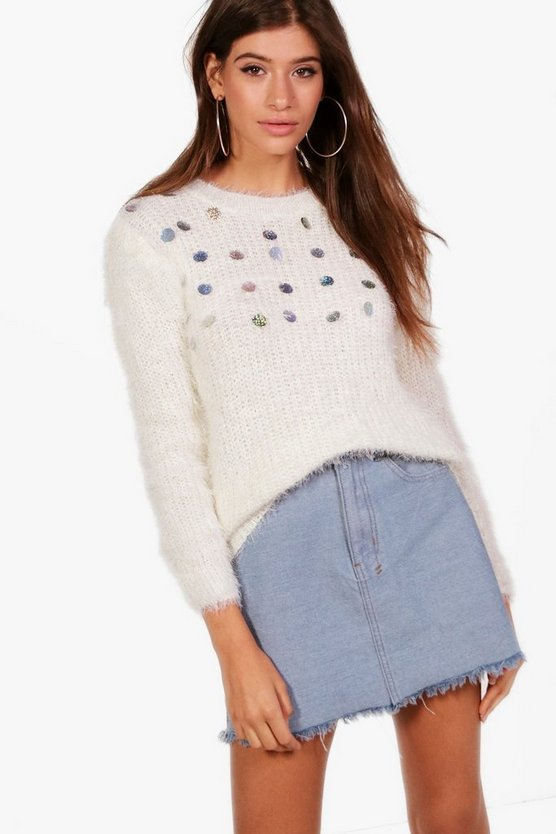 Cara Beaded Fluffy Knit Jumper
