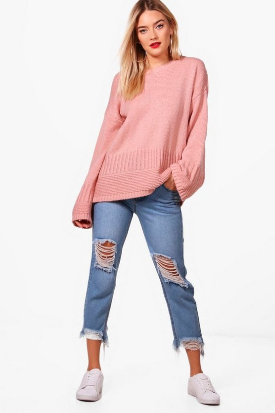 Womens Blush Oversized Rib Edge Wide Sleeve Jumper