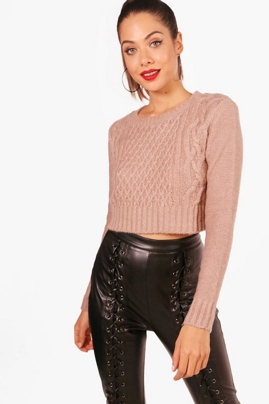 Womens Beige Nep Yarn Cable Crop Jumper